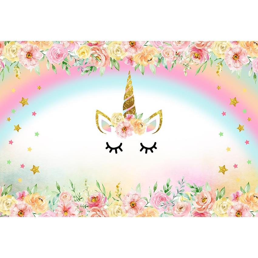 Baby Show Backdrops Unicorn Background Flowers Backdrops G-568