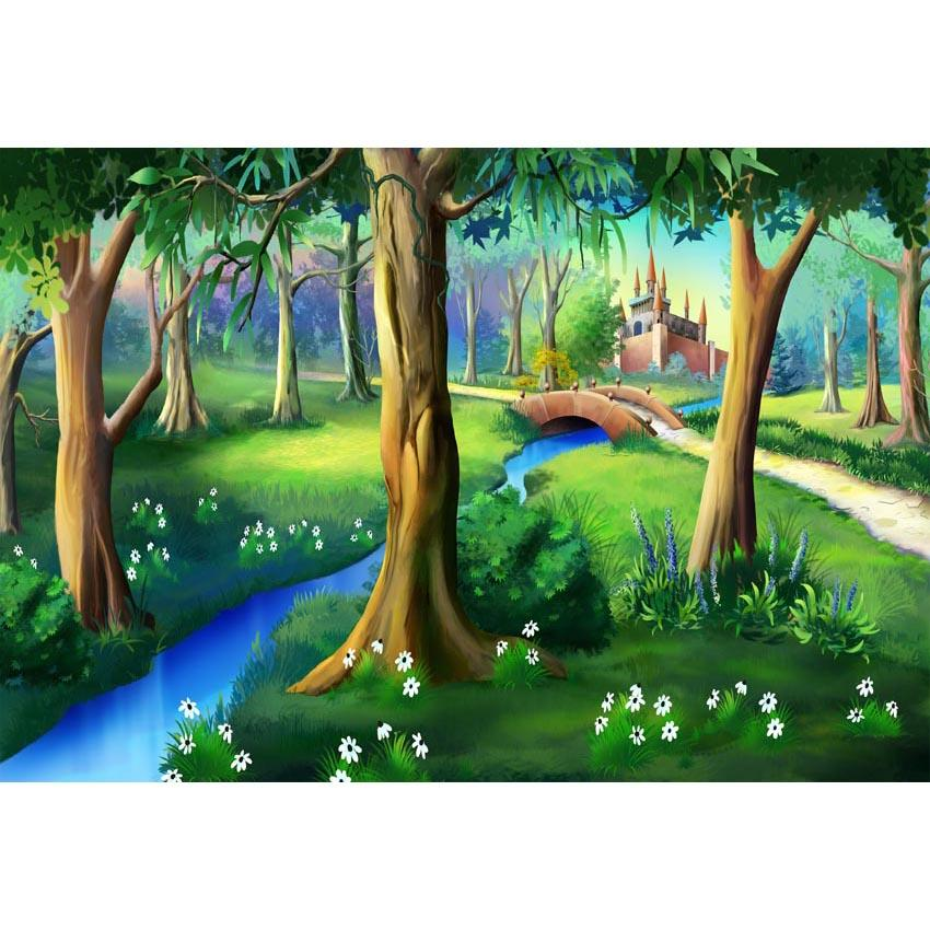 Kid Backdrops Cartoon Fairytale Background Forest Backdrops G-583