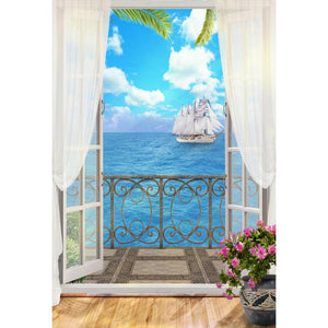 Window Backdrops Sailboat Backdrops Blue Backgrounds G-617