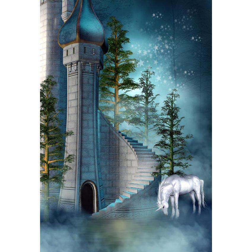 Baby Kid Backdrops Cartoon Fairytale Backdrops Castle Background G-622 - iBACKDROP-Anime Backdrop, Baby Kid Backdrops, Beautiful Backdrops, Cartoon Fairytale Backdrops, Cute Backdrops, Nature Backdrops