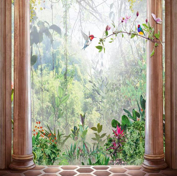 Door Backdrops Trees Backdrop Flowers Background G-625