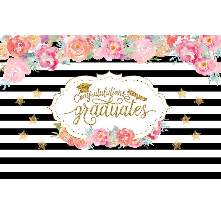 Graduation background White And Black Backdrop Flowers Backdrop G-635