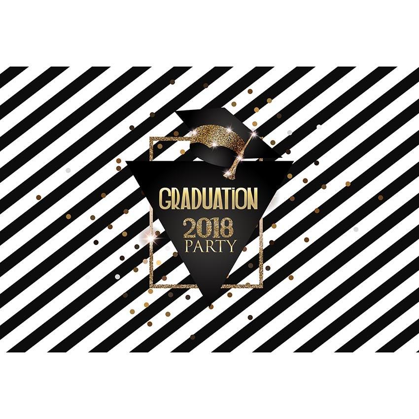 Graduation Backdrop Black And White Backdrop G-640