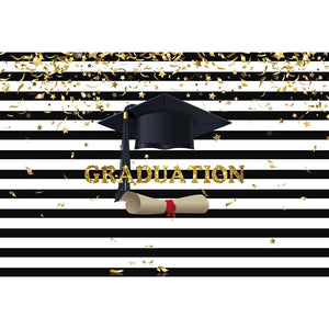 Graduation Backdrop White And Black Background G-641