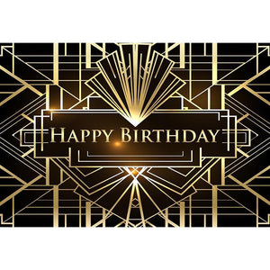 Birthday Party Backdrops Background Black And Golden Backdrop G-644