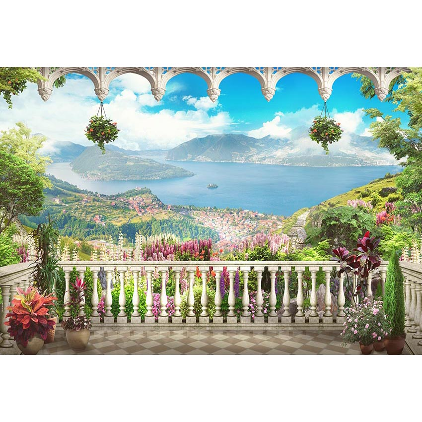 Window Backdrops Flowers Backdrop Lakes Background G-662