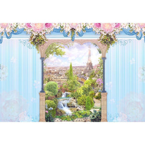 Window Curtains Background Backdrop Drape Floral Backdrop G-663