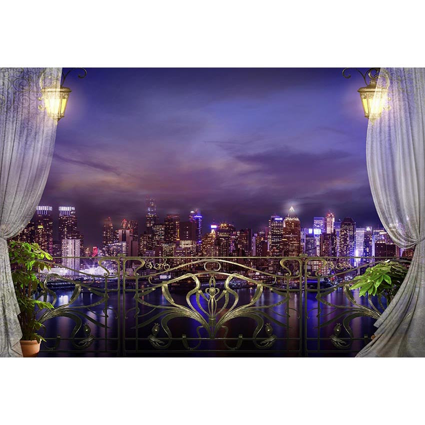 Window Backdrops Night Backdrop Rivers Background G-662
