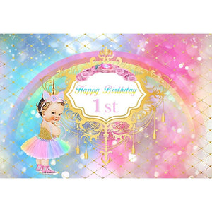 Birthday Backdrops Blue And Pink Backdrop Party Background G-686