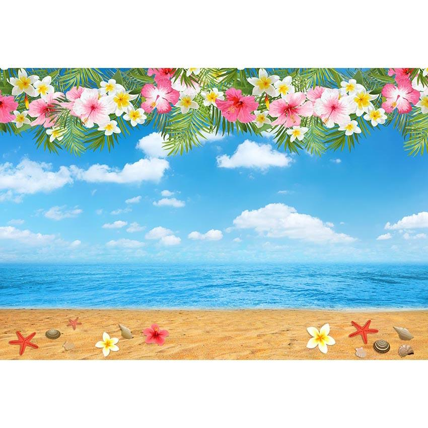 Beach Backdrops Flowers Backgrounds G-693 - iBACKDROP-Beaches Backdrops, Blue Background, Flowers Backdrops, sky backdrops