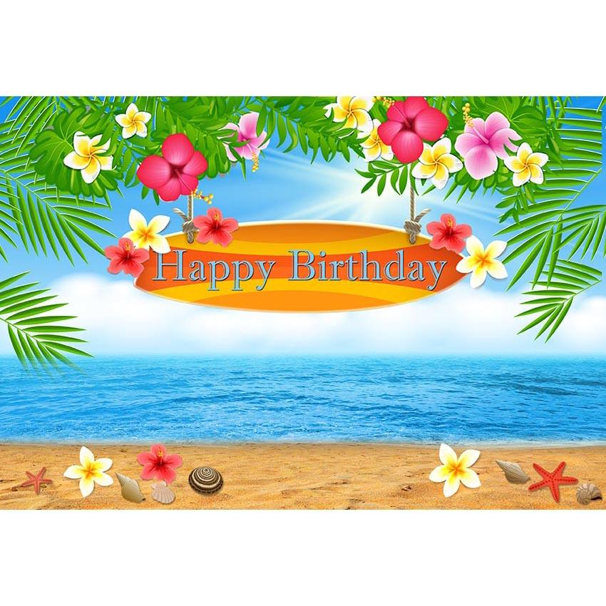 Birthday Backdrops Flowers Background Beach Backdrop G-694