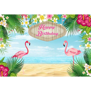 Birthday Backdrops Beach Background Flamingo Backdrop G-696