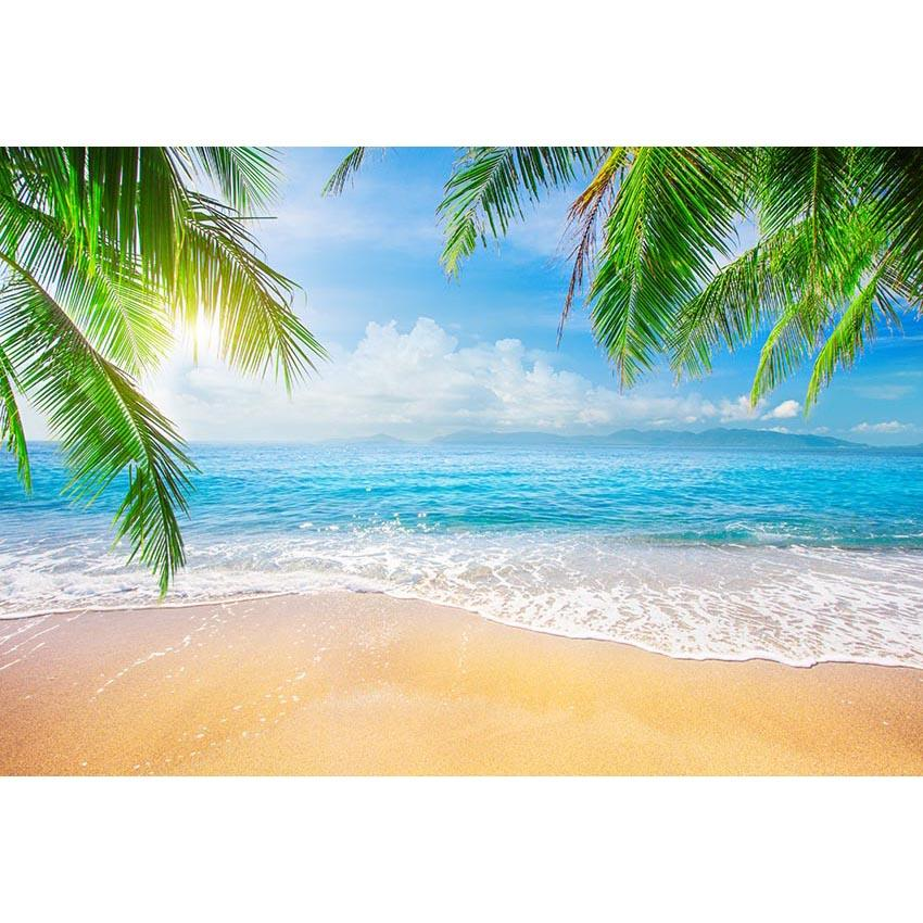 Beach Backdrops Trees Backdrops Blue Backgrounds G-698 - iBACKDROP-Beaches Backdrops, blue backdrop, Tree Backdrop