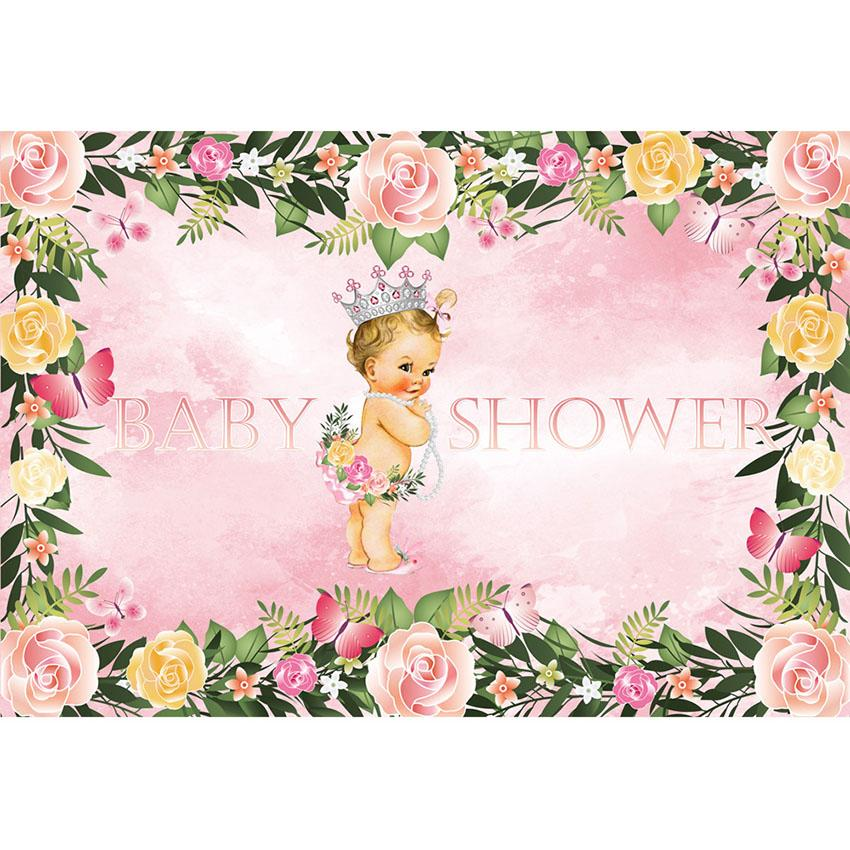 Baby Show Backgrounds Girl Backdrop Pink Backdrops G-722 - iBACKDROP-baby shower backdrop, custom, Flowers Backdrops, Little Girl Backgrounds, pink backdrops, Scenic Backdrops