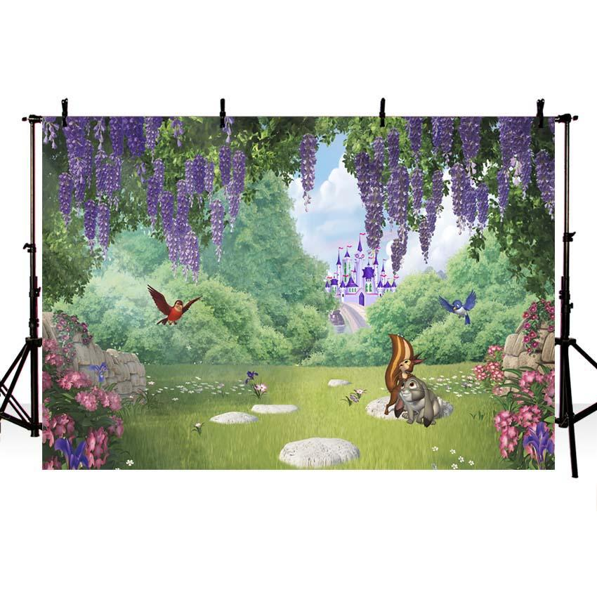 Baby Kid Backdrops Cartoon Fairytale Backdrops Forest Backgrounds G-724 - iBACKDROP-Baby Backdrop, Baby Dream Backdrops, Baby Kid Backdrops, Cartoon Fairytale Backdrops, Castle Backdrop