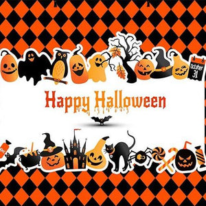 Festival Backdrops Halloween Backdrops Halloween Plaid Background G-777