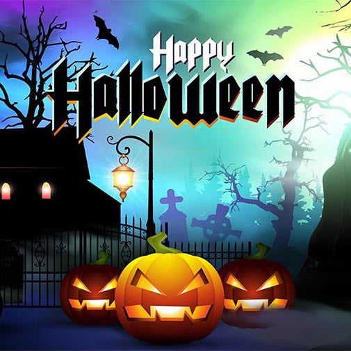 Festival Backdrops Halloween Pumpkin Lantern Background G-796