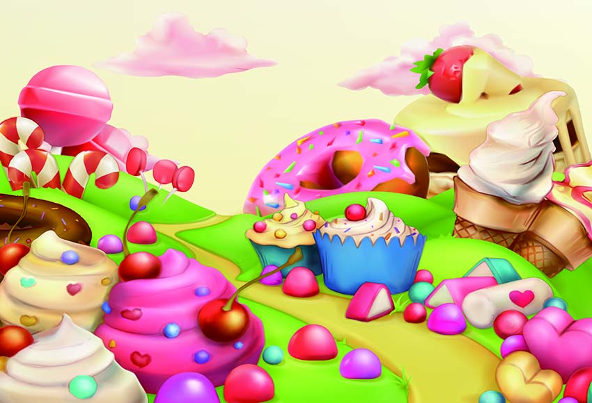 Pink Cartoon Candy Dessert Backdrop For Baby Photography GY-066