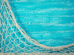 Green Board Background Fishing Net Fish Portrait Photography Backdrop IBD-20097