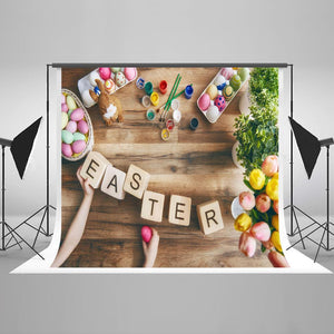 Easter Background Easter Photography Backdrops Wooden Backdrop HJ02928