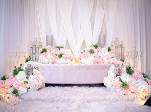 Hanging Curtain Flowers Clustered on the Sofa Romantic Proposal Wedding Scene Background IBD-20045