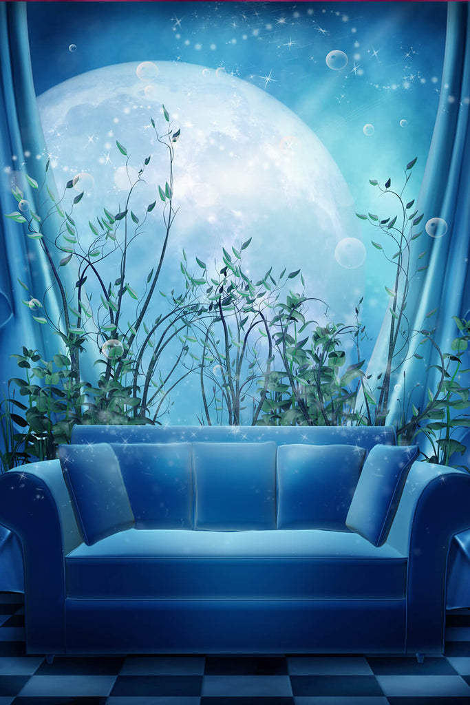 Sofa Window Flower Against Moon Fairytale Background For Kids Photography IBD-24617
