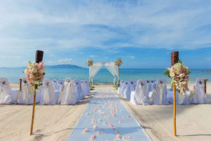 Custom Backdrops Seaside Wedding Backdrops With Flower MJ00047-E