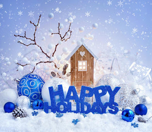 Merry Christmas  Light Blue Background Festival Backdrops For Home Decor IBD-19226