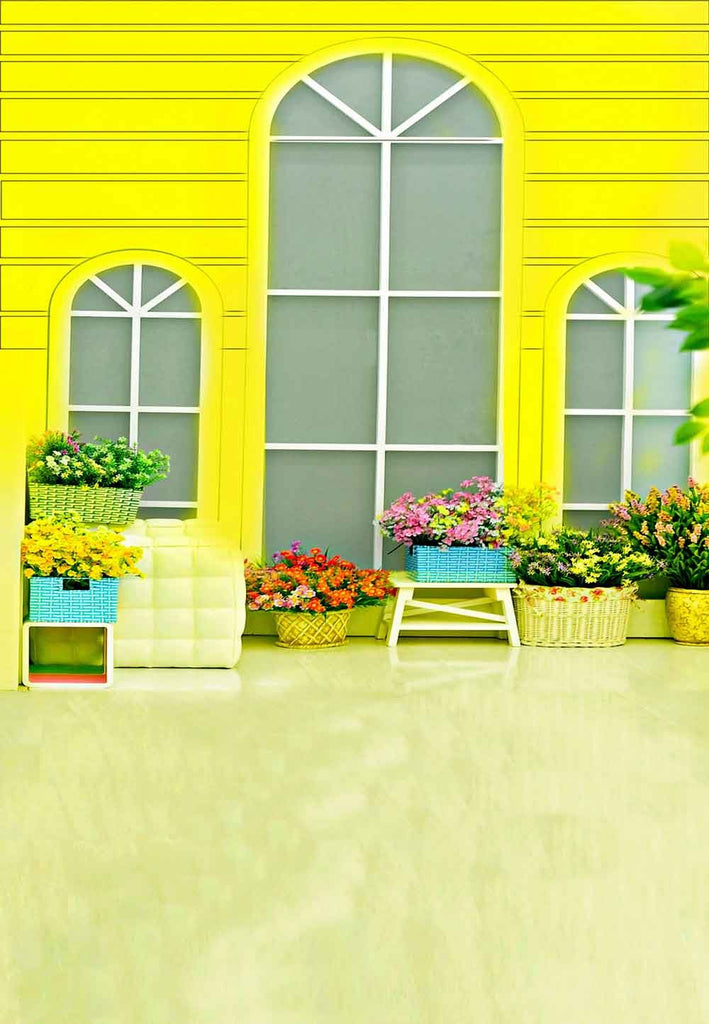 Baby Backdrops Door & Window Backdrops Flower Background N10204-E - iBACKDROP-Baby Kid Backdrops, Cartoon Fairytale Backdrops, Floral Backdrop, Flower Backdrop, Flower Wall Backdrop, win, wind, windo, Yellow Backdrop