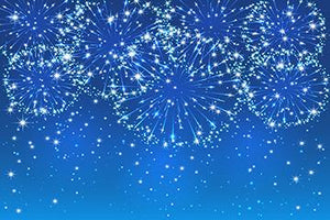 Nice Blue Sky Color Fireworks Background New Year Backdrops Portrait Photography IBD-19721
