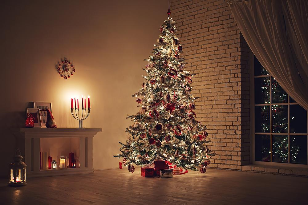 Night Indoor Christmas Tree Background Photography Backdrops for Party Ideas IBD-19247