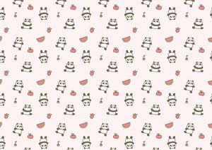 Panda Watermelon Strawberry Cartoon Background Baby Shower Backdrops IBD-19290