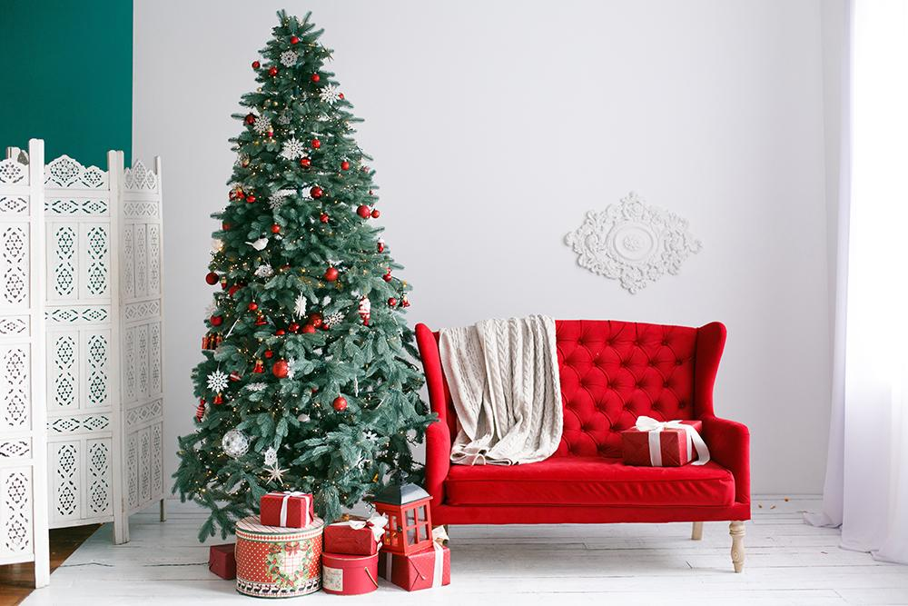 Red Sofa and Christmas Tree Background Photography Backdrops IBD-19419