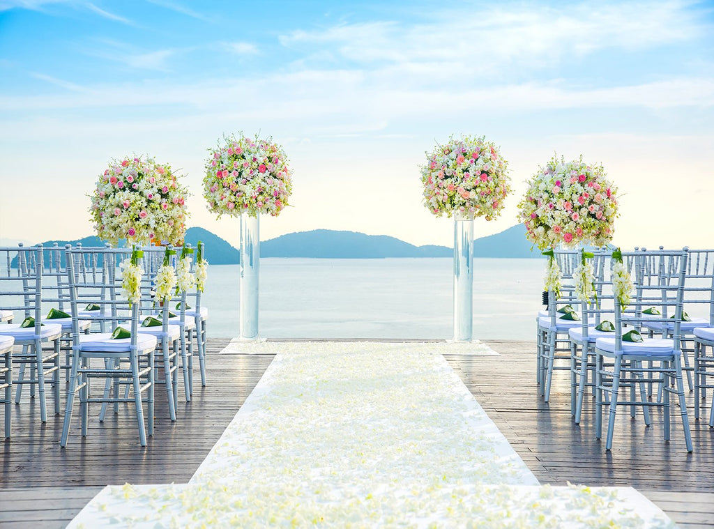 Romantic Wedding of Lakeside Lawn Beautiful Flowers Portrait Photography Backdrop IBD-19842