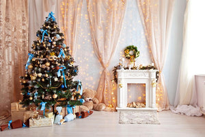 Romantic Curtain Christmas Tree Background Festival Backdrops IBD-19415