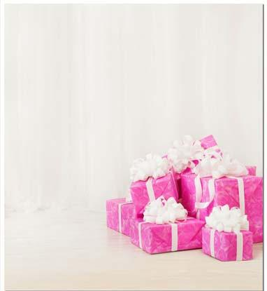 Baby & Little Girl Backdrops Red Background With Gift Backdrop S-1374