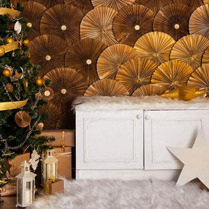 Christmas Photo Backdrop Tree Background Wood flooring Backdrop S-2671
