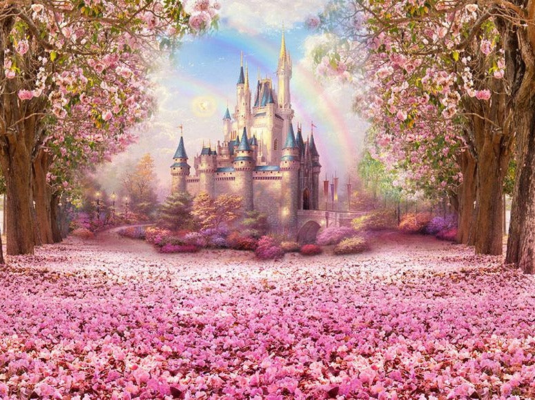Castle Backdrops Trees Backdrops Pink Backgrounds S-2711
