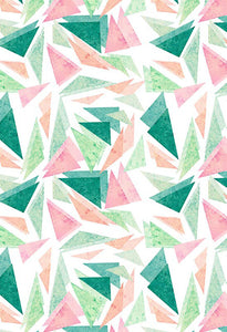 Polka Dot Printed Backdrops Triangles Background Pink And Green Backdrops S-2851