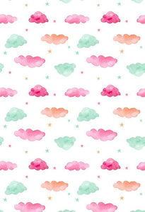 Polka Dot Printed Backgrounds Pink And Green Backdrops Clouds Backdrop S-2861