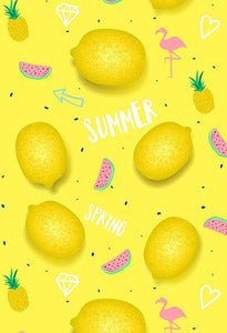 Polka Dot Printed Backdrops Lemons Background Yellow Backdrop S-2862