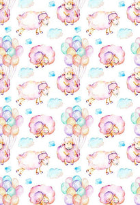 Balloons Backgrounds Sheep Backdrop Pink Backdrop S-2870