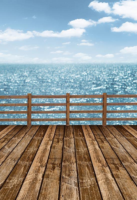 Beach Backdrops Blue Backdrops Wood Backgrounds S-3041