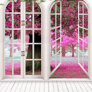 Window Backdrops Flowers Pink Backgrounds S-3048