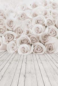 Flowers Backdrop White Background S-3049