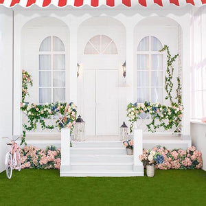 Door Backdrops Flowers Backdrop Green And White Background S-3050