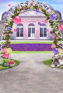 Castle Backdrops Pink Backdrops Flowers Backgrounds S-3054