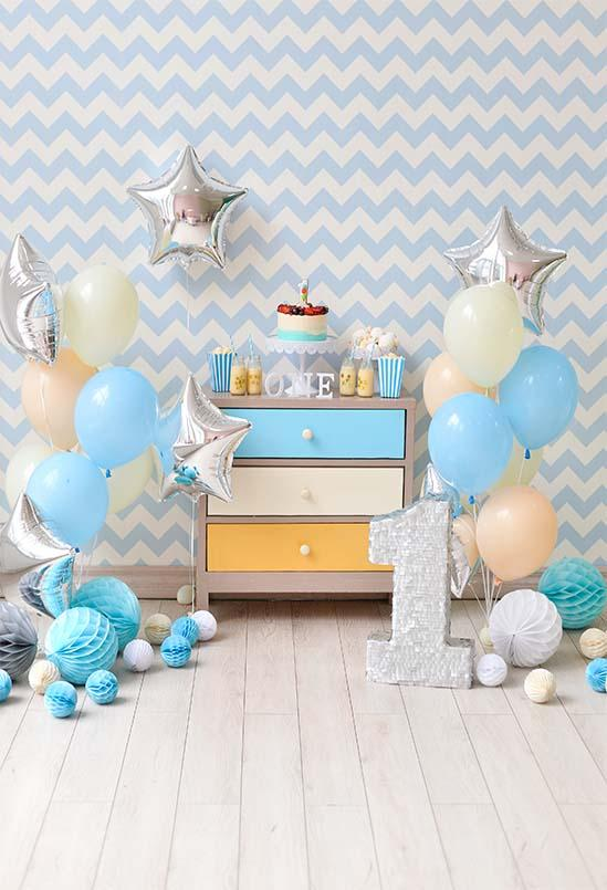 Birthday Background Cake Backdrops Blue Backdrop S-3077