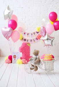 Birthday Party Background Balloons Backdrop Pink Backdrops S-3078