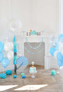 Birthday Party Background Cake Backdrop Blue Backdrop S-3080